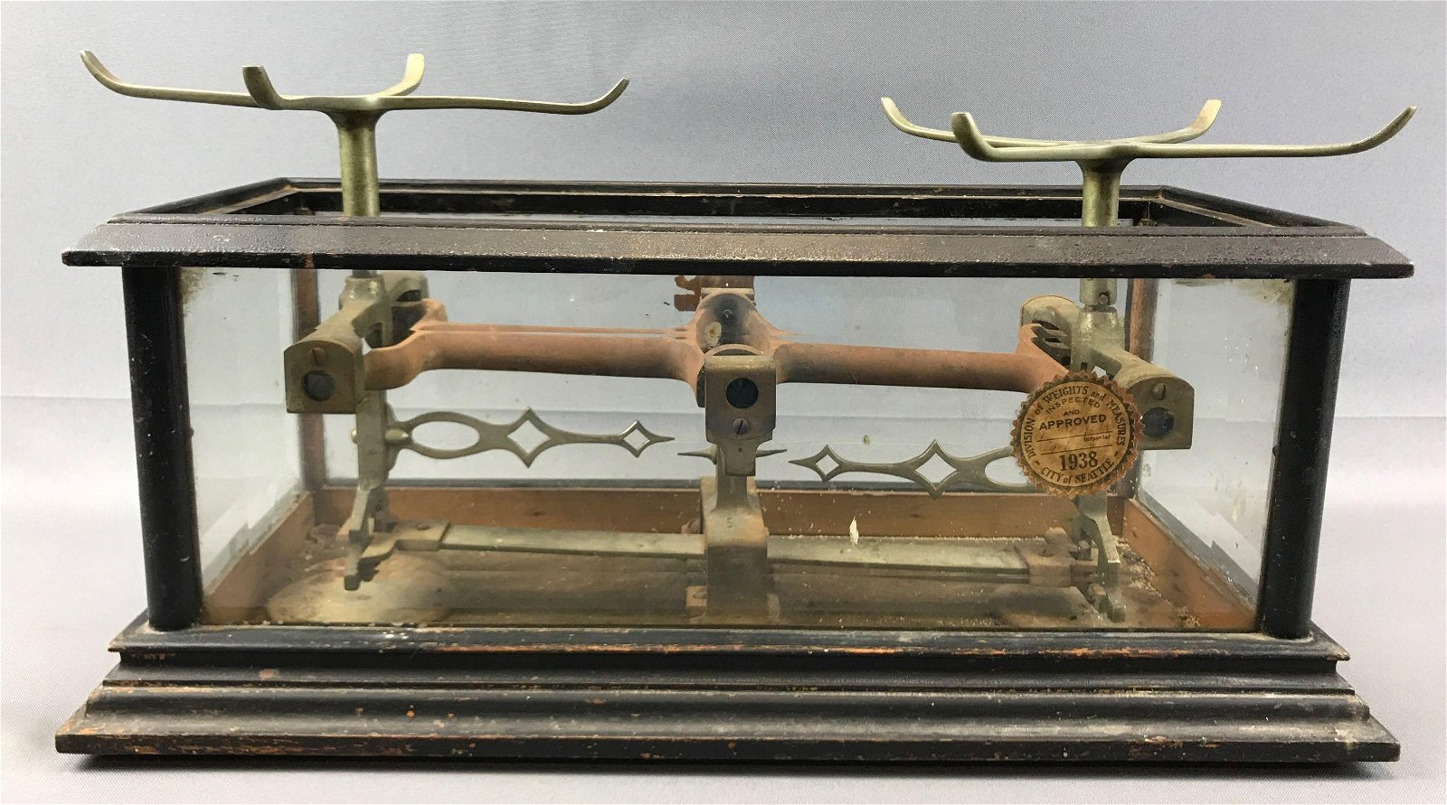Vintage Scale in Glass Case - Inspection Sticker dated