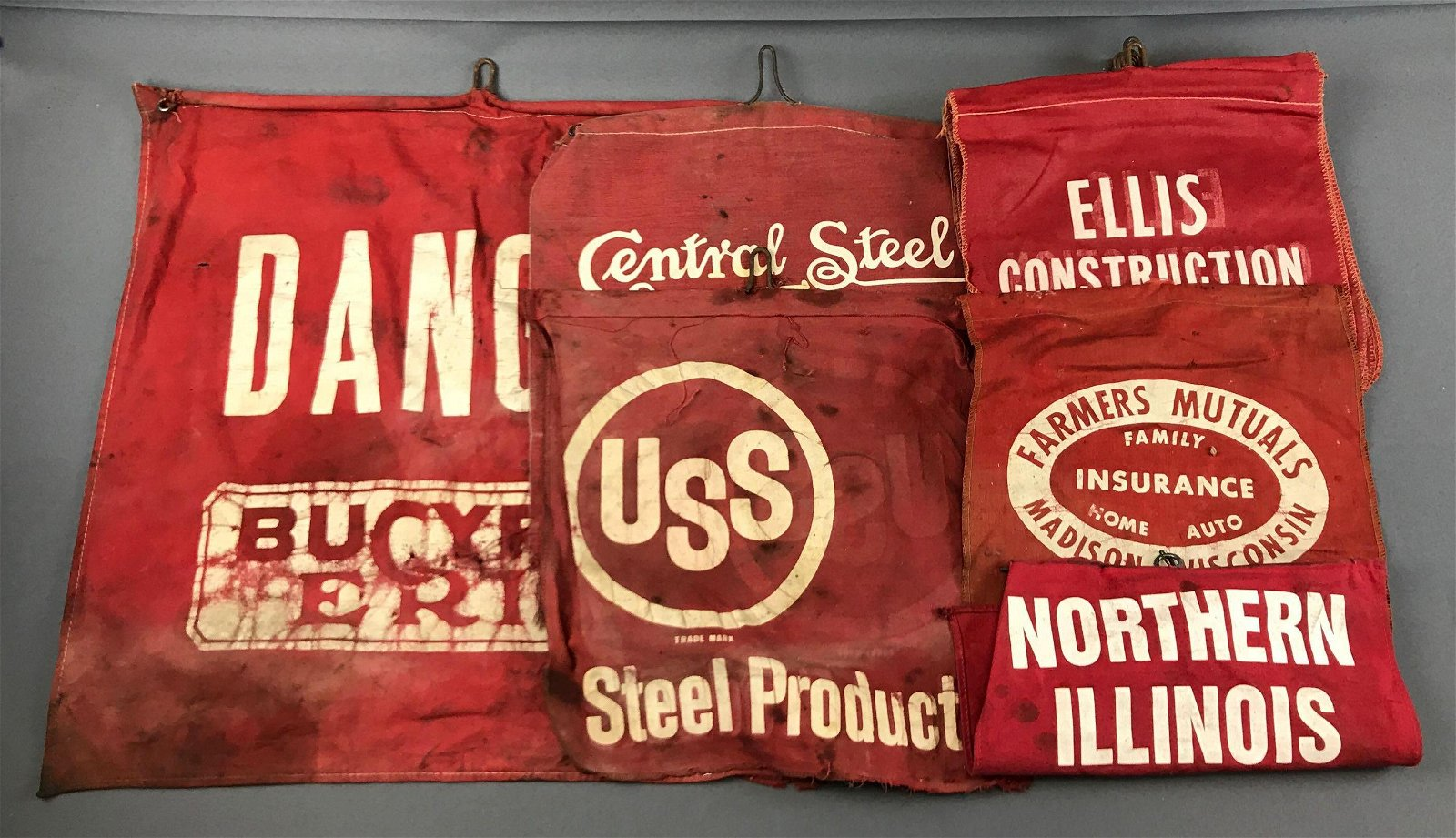 "Group of Vintage Safety Flags - Ellis Construction"","
