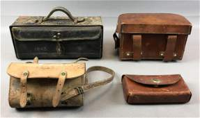 Group of 4 : Vintage Leather Bags - Stamped 1918, 1943