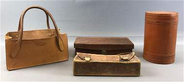Group of 4  Leather Items  Bag Canister Box