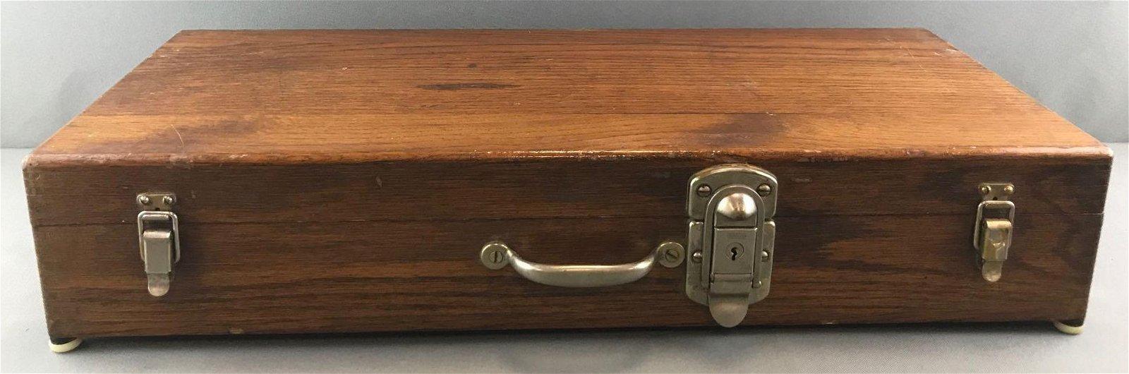 "Antique Oak ""Stanley Tool"" Case w/ Dovetail"