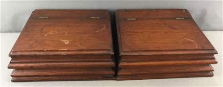 Group of 2 : Vintage Wooden Hinged Lid Boxes