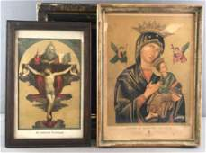 Group of 3 Pieces : Framed Religious Art + Empty Shadow