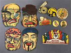 Group of Vintage Paper Masks, Advertising + more