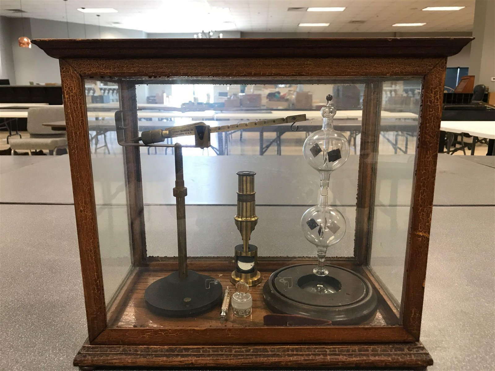 """Vintage Wood + Glass Display with """"Double Bubble"""""""
