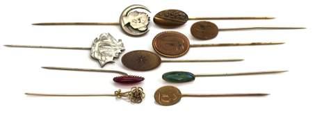 Lot of 10 : Antique/Vintage Stickpins - Initials,