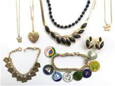 Vintage Jewelry Collection - Jet Black and Golden