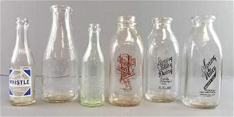 Group of 6: Vintage Glass Milk Bottles + Soda Bottle