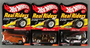 Group of 3 Hot Wheels Real Riders die-cast vehicles in