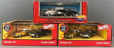 Group of 3 Hot Wheels diecast vehicle sets in original