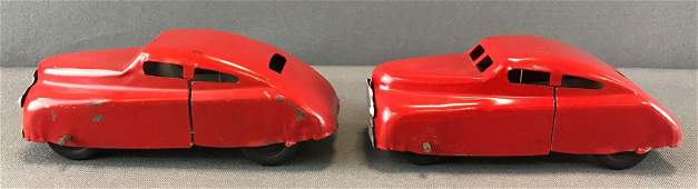 Group of 2 vintage windup tin toy vehicles