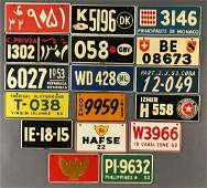 Group of 17 vintage collectible tin license plates