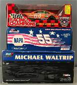 Group of 4 NASCAR Die-Cast replicas, coin bank in