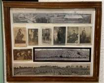 Framed grouping of camp grant postcards and photos