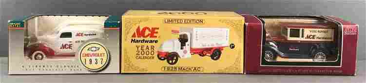 Group of 3 Ace Hardware die-cast vehicle coin banks in