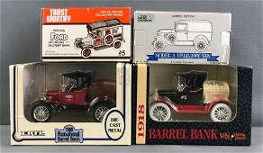 Group of 4 die-cast vehicle coin banks in original