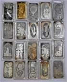 Group of (20) Vintage 1oz. .999 Fine Silver Art Bars /