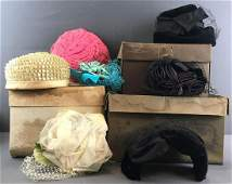 10 piece group vintage Ladies Hats and hat boxes