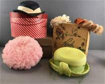 8 piece group vintage Ladies Hats and hat boxes