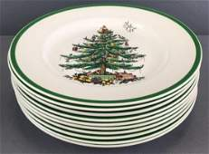 Group of 10 Spode Christmas Tree dinner plates