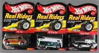 Group of 3 Hot Wheels Real Riders die-cast vehicles in