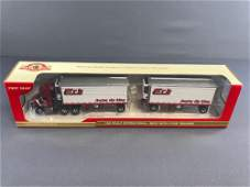 First Gear Erb Die-Cast Metal Tractor Double Trailer in