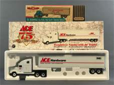 Group of 3 Ace Hardware die-cast tractor trailer in