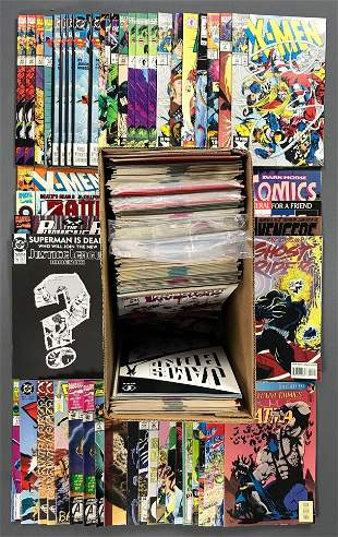 Short box approximately 150 assorted comic books