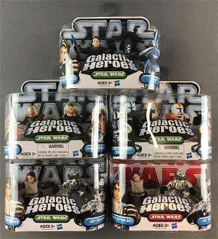 Group of 5 Hasbro Galactic Heroes Star Wars action