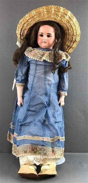 Antique 28 inch unmarked bisque closed mouth doll