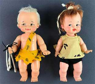 Group of 2 Ideal Toy Corp Bam Bam and Pebbles