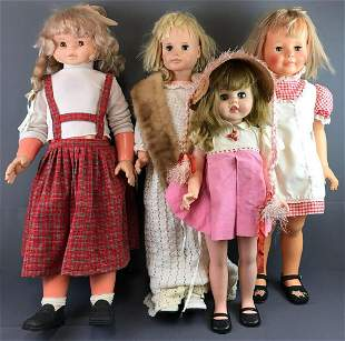 Group of 4 large sleep eye dolls