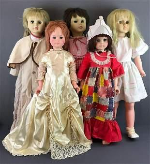 Group of 5 large sleep eyes dolls