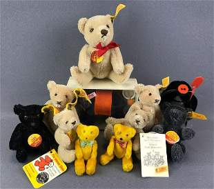 Group of 11 vintage jointed Steiff teddy bears and more