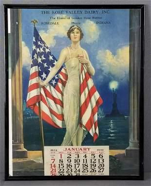 Framed lithograph patriotic 1934 calendar