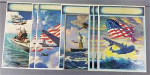 Group of 8 vintage patriotic art calendar samples