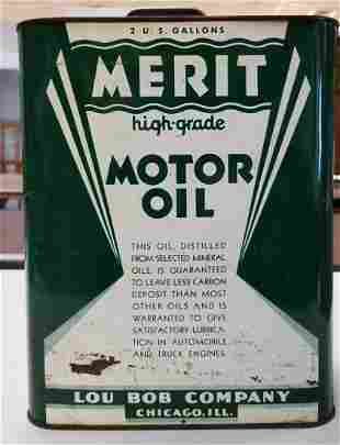 Vintage Merit Motor Oil 2 gallon can