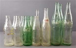 Group of vintage glass soda bottles