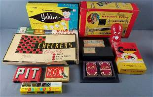 Group of vintage board games, cards, and more