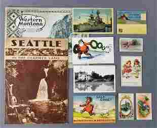 Group of postcards, bible cards, maps and more