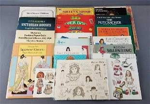 Group of paper dolls, paper houses and more