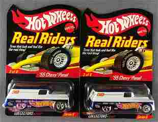 Group of 2 Hot Wheels Real Riders Series 6 55 Chevy