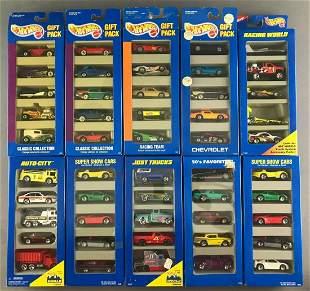 Group of 10 Hot Wheels Gift Packs in original packaging