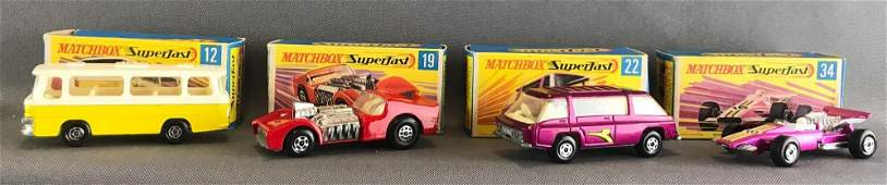 Group of 4 Matchbox Superfast die-cast vehicles
