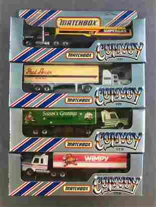 Group of 4 Matchbox Convoy die-cast tractor-trailers