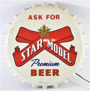 Vintage Star Model Beer Light Up Advertising Bottle Cap
