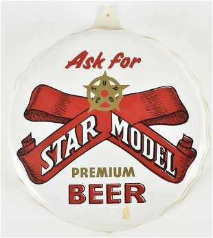 Vintage Star Model Beer Advertising Vacuum Formed Sign