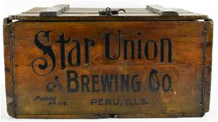 Vintage Star Union Brewing Co. Advertising Wood Crate
