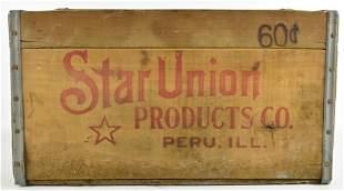 Vintage Star Union Beer Advertising Wood Crate