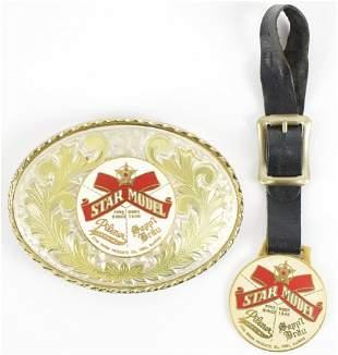 Vintage Star Model Beer Advertising Belt Buckle and